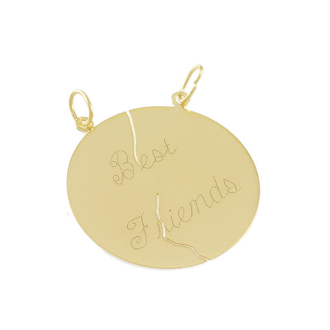 "1 1/8"" Engraved 2 Piece ""Best Friend"" Pendant - Lone Palm Jewelry"