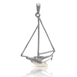 10219 - Outlined Ship with Shark Tooth Pendant