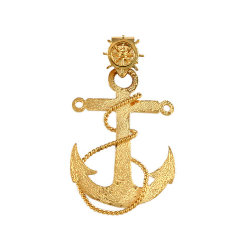 "1 3/8"" Fouled Anchor with Ship's Wheel Bail - Lone Palm Jewelry"