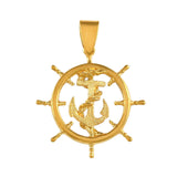 "10412 - 1 1/2"" Ship's Wheel with Fouled Anchor - Lone Palm Jewelry"