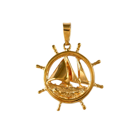 "10428 -1 1/16"" Ship's Wheel with Sailboat - Lone Palm Jewelry"