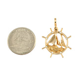 "1 1/16"" Ship's Wheel with Sailboat & Diamonds - Lone Palm Jewelry"