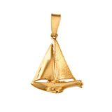 "10429 - Sailboat with High Polish & Satin Finish Sails - 1 1/4"" - Lone Palm Jewelry"