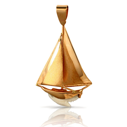 10430 - Sailboat Shark Tooth Pendant