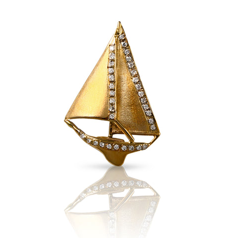 "1 5/8"" x 1 1/8"" Sailboat with Diamond Sails & Hull - Lone Palm Jewelry"