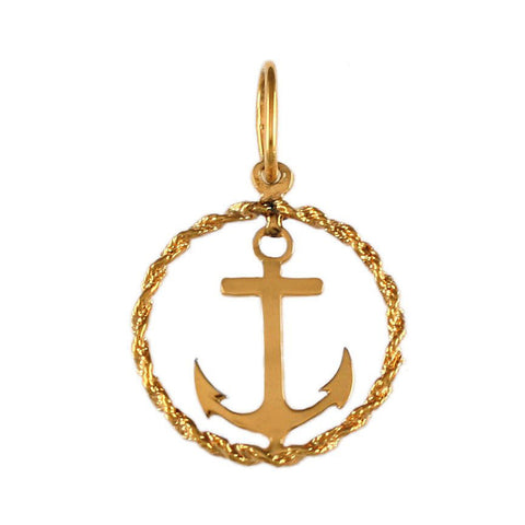 "3/4"" Anchor in Rope Frame - Lone Palm Jewelry"