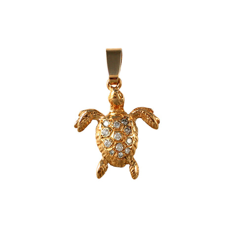 "10684d - 7/8"" Green Sea Turtle with Diamonds - Lone Palm Jewelry"