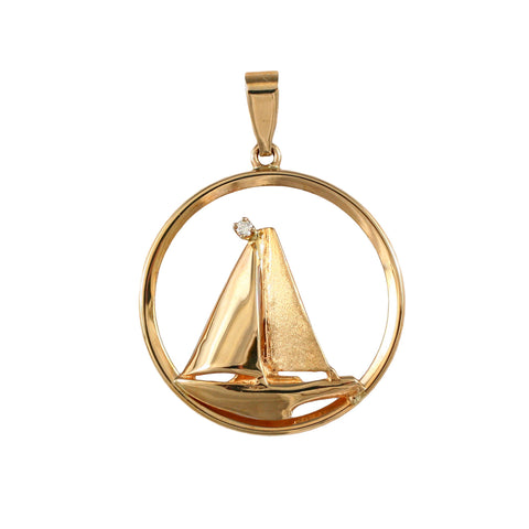 "10799d - 1 3/16"" Sailboat in Frame with Diamond"