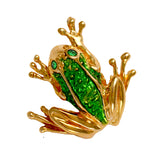 "10911e - 7/8"" Enameled Frog Pendant with Emerald Eyes and Hidden Bail"