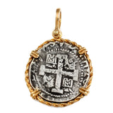 "Atocha Silver 1 3/8"" Spanish Replica Coin Pendant in Twisted Rope Frame - Item #10935P"