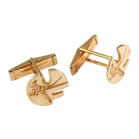 "11079cl - 5/8"" Sterling Pell Logo UF Cuff Links - Cut Outs - Lone Palm Jewelry"