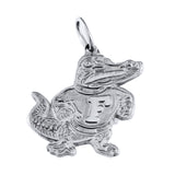 "3/4"" Silver Classic Fighting Albert Gator Pendant - Lone Palm Jewelry"