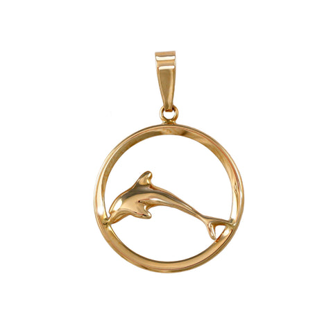 11323 - Dolphin in Round Frame Pendant