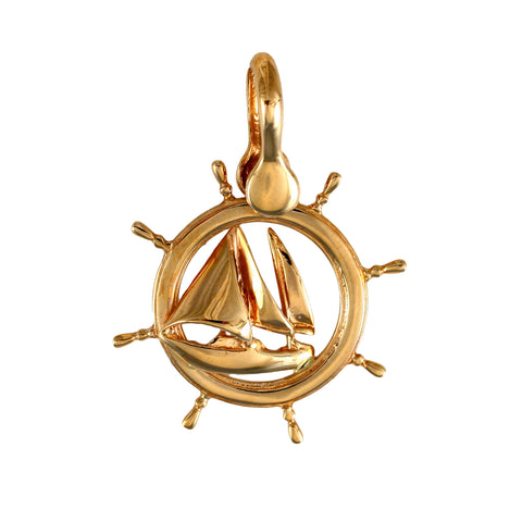 "11382 - 1 3/8"" Sailboat in Ship's Wheel Frame Pendant"