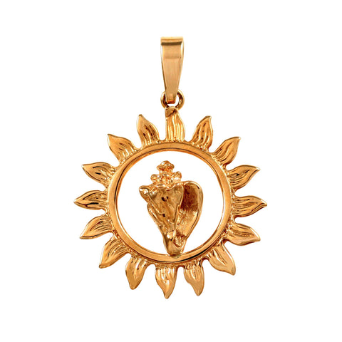 "11530 - 1"" Conch in Sunburst Shell Pendant"