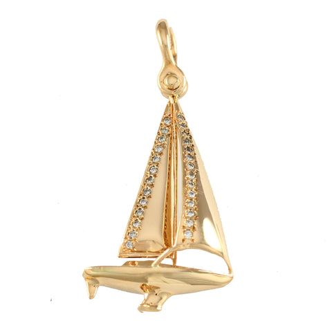 "11796d - 1⅞"" Legend Sailboat Pendant with Diamonds - Lone Palm Jewelry"