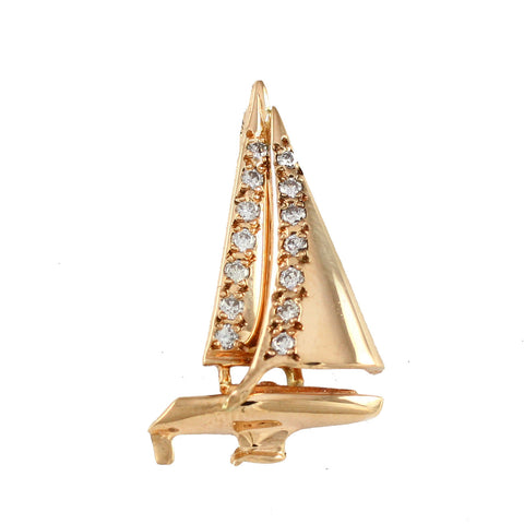 "11883d - 1⅛"" Legend 37 Sailboat Pendant with Diamonds - Lone Palm Jewelry"