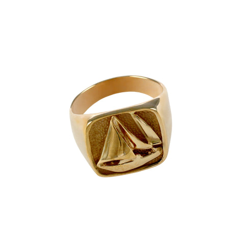 12311 - Large Stamped Sailboat Ring - Lone Palm Jewelry
