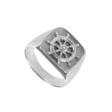 12319 - Large Stamped Ship's Wheel Ring - Lone Palm Jewelry