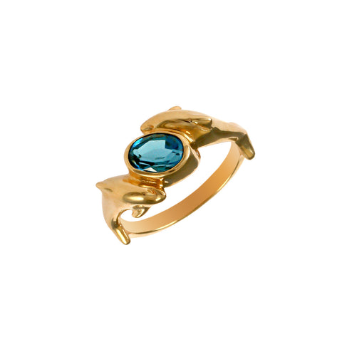 12375 - Blue Tourmaline and Dolphin Ring - Lone Palm Jewelry