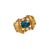 12383 - Crab and Blue Tourmaline Ring - Lone Palm Jewelry