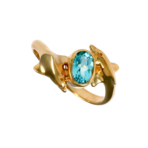 12401 - Passing Dolphins Ring with Blue Tourmaline - Lone Palm Jewelry