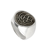 Atocha Silver historical Spanish coin replica ring handcrafted in 14kt gold or 925 sterling silver. Each ring is completely handcrafted in Florida, USA.   All coins are made entirely from an 80lb bar of 100% silver recovered by Mel Fisher in 1986 from the wreck of the Nuestra Señora de Atocha off the coast of Key West. Comes as a Size 10 by default. Please call for other sizes: (800) 233-4820  Accompanying each coin is a certificate authenticating the silver used in the coin's production. Item #12451