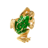 12516 - Enameled Frog Ring with Emerald Eyes