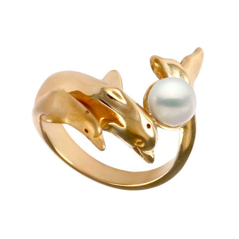 12850 - Double Dolphin Ring with Pearl