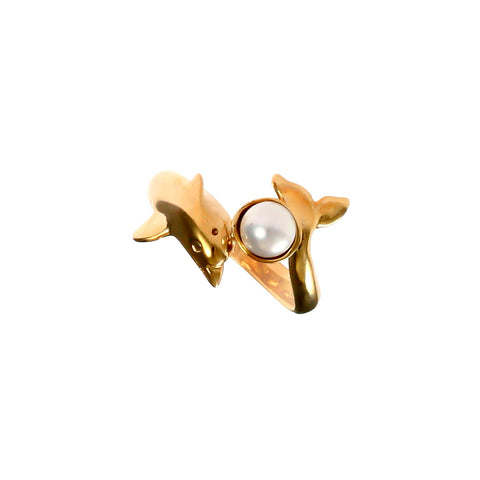 12851 - Wrapped Dolphin with Pearl Ring - Lone Palm Jewelry