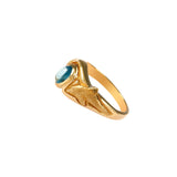 12855 - Carved Dolphin and Blue Tourmaline Ring - Lone Palm Jewelry