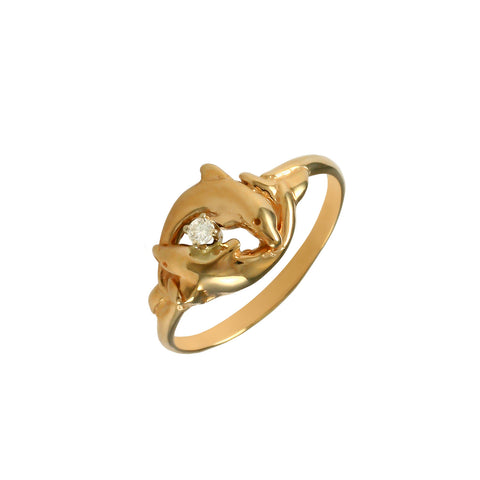 12891d - Intertwined Dolphins with Diamond Ring - Lone Palm Jewelry