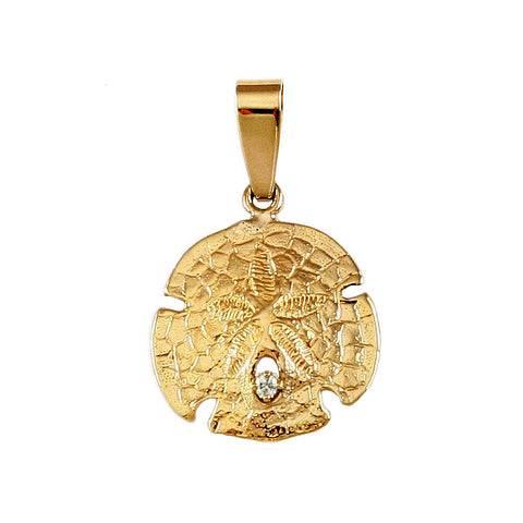 "3/4"" Sand Dollar Pendant with Diamond - Lone Palm Jewelry"