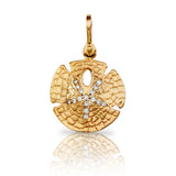 "1 1/16"" Sand Dollar Charm with Diamond Center - Lone Palm Jewelry"