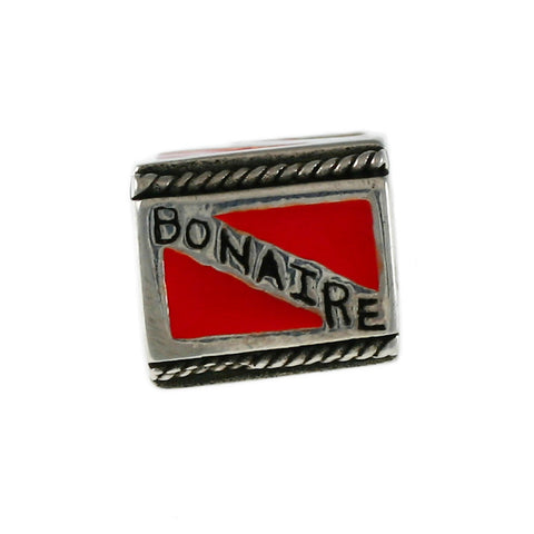 Enameled BONAIRE Diver Flag Bead - Lone Palm Jewelry