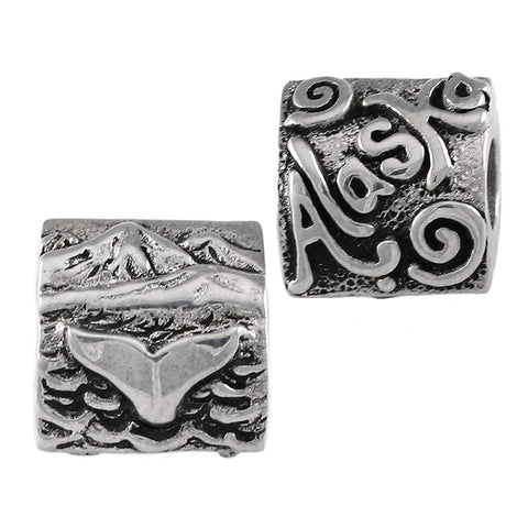 ALASKA Whale Tail & Mountain Scene Bead - Lone Palm Jewelry