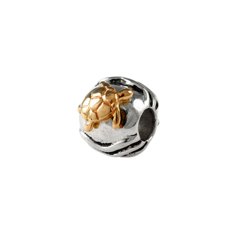 13604a - 14kt Sea Turtle & Sterling Waves Bead - Lone Palm Jewelry