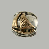 13606a - 14k Sailboat & Sterling Waves Bead