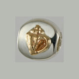 13612a - 14k Conch & Sterling Lozenge Bead