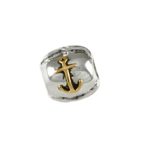 14kt Anchor on Sterling Wave Bead - Lone Palm Jewelry