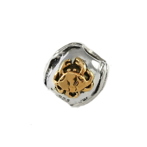 14kt Crab & Sterling Waves Bead - Lone Palm Jewelry