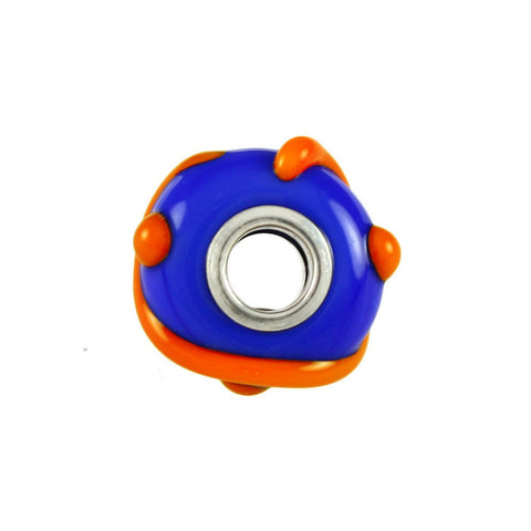 Glass Swirling Gator Orange & Blue Bead - Lone Palm Jewelry