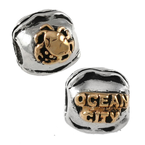 14kt  Crab & OCEAN CITY on Sterling Wave Bead - Lone Palm Jewelry