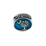 South Carolina Palmetto Moon Flag Oval Bead - Lone Palm Jewelry