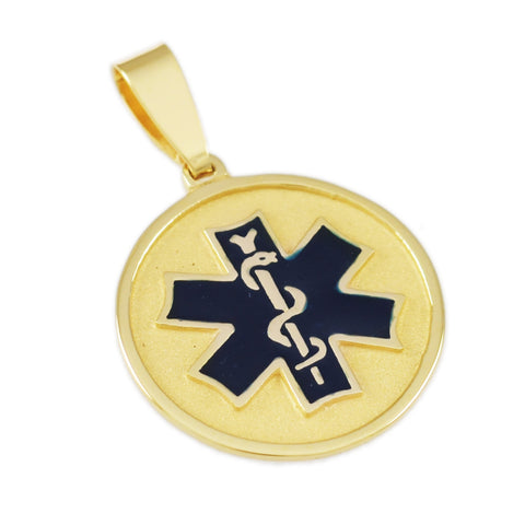 "1"" Round Medical ID Tag with Enamel - Lone Palm Jewelry"