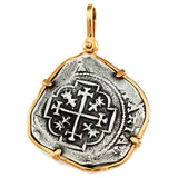 "Atocha Silver 1 3/8"" Replica Coin Pendant with Smooth Bezel Frame & Shackle Bail - Item #14906"