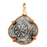 "Atocha Silver 1 1/4"" Spanish Replica Coin Pendant with Twisted Frame & Shackle Bail - Item #14908"