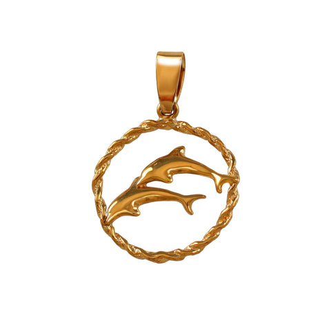 15015 - Double Dolphin Pendant in Rope Frame