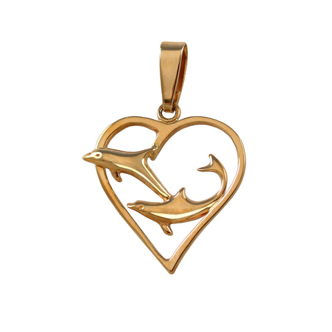 15047 - Double Dolphin Heart Pendant