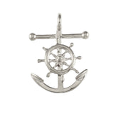 "15098 - 1 1/4"" Anchor & Movable Ship's Wheel - Lone Palm Jewelry"